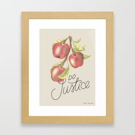 Do Justice | Botanical illustration | Lettering artwork Framed Art Print