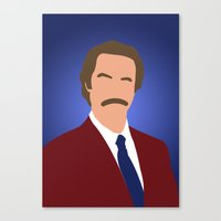 anchorman Canvas Prints featuring Ron Burgundy - Anchorman by Tom Storrer