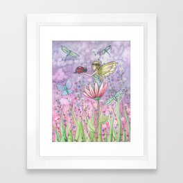 A Friendly Encounter Fairy and Ladybug Art by Molly Harrison Framed Art Print