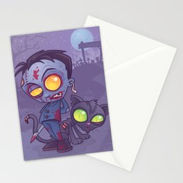 Pet Cemetery: Zombie Boy and his Zombie Cat Stationery Cards