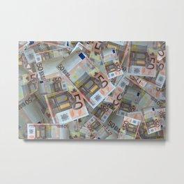 Piles of 50 Euro notes Metal Print