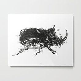 Beetle 1. Black on white background Metal Print
