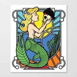 Art Nouveau Mermaid Holding Pirate Skull Canvas Print