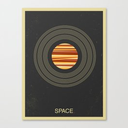SPACE - Universe | Stars | Saturn | Science | Planets | Minimal | Swiss Design | Retro Art Print Canvas Print
