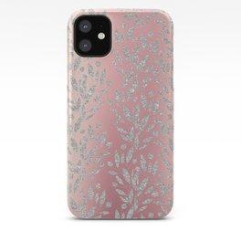Elegant pink gradient glam silver glitter floral iPhone Case