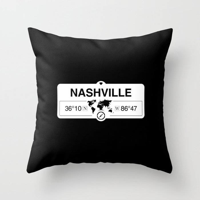 Nashville Tennessee Map GPS Coordinates Artwork with Compass Throw Pillow