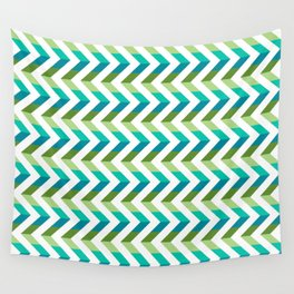 Chevron Picnic Time - Geometric pattern with blue and green Wall Tapestry
