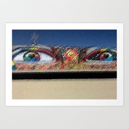 "Black Rock City Festival Graffiti ""Eyes"" Sculpture Painting by Jeanpaul Ferro Art Print"