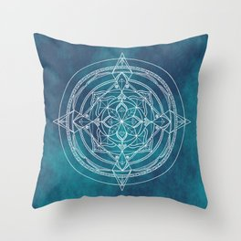 White Mandala - Dusky Blue/Turquoise Throw Pillow