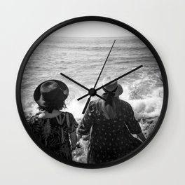 """Sisters on the Shoreline"" Holga photograph Wall Clock"