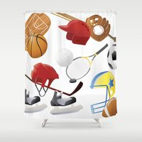 sports Shower Curtains featuring sports! by Dues Creatius