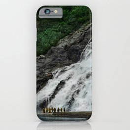Alaskan Massive Waterfalls And Small Canoe With Hikers iPhone Case