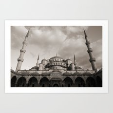 Blue Mosque in Grey Art Print