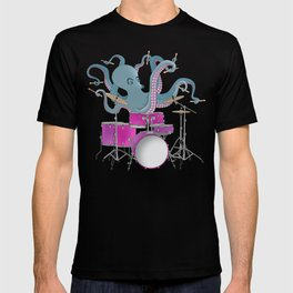 Octopus Playing Drums - Blue T-shirt