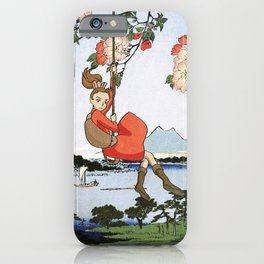 Arrietty landing - a japanese woodblock mashup iPhone Case