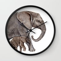 elephants Wall Clocks featuring Elephants by Goosi