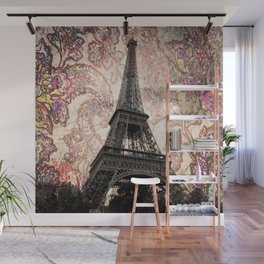 Floral Eiffel Tower in Paris, France Wall Mural