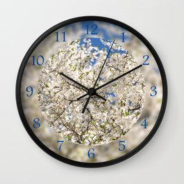 white flowers of Cerasus Wall Clock