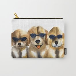 Yellow dogs  in funny glasses Carry-All Pouch
