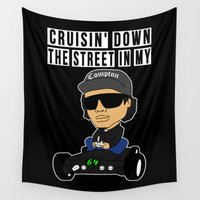 rap Wall Tapestries featuring NWA Hip Hop Compton Rap Nintendo 64  by Nibiru Hybrid