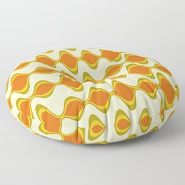 Retro Psychedelic Wavy Pattern in Orange, Yellow, Olive Floor Pillow