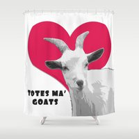 totes Shower Curtains featuring Totes Ma Goats - Red by BACK to THE ROOTS