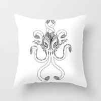 cthulhu Throw Pillows featuring Cthulhu by KittenDCute