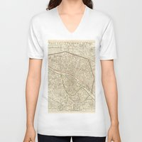 paris map V-neck T-shirts featuring PARIS by Le petit Archiviste