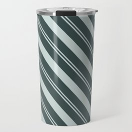 Cave Pearl Light Mint Green PPG1145-3 Thick and Thin Angled Stripes on Night Watch PPG1145-7 Travel Mug