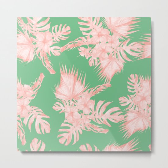 Dreaming of Hawaii Seashell Pink + Green Metal Print