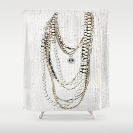 vintage white gold necklace Shower Curtain