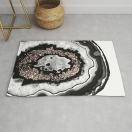 Gray Black White Agate with Rose Gold Glitter #3 #gem #decor #art #society6 Rug