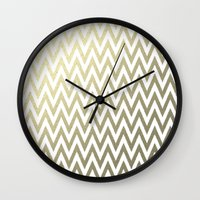 gold foil Wall Clocks featuring Gold Foil Chevron by Zen and Chic