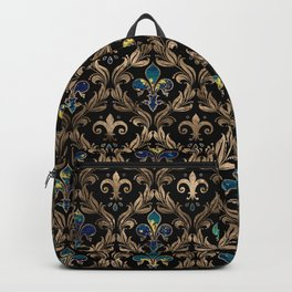 Fleur-de-lis pattern marble and gold Backpack