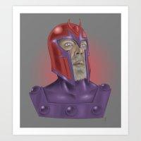 magneto Art Prints featuring Magneto by Matthew Bartlett