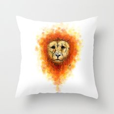 Gesture Lion with Mane Throw Pillow