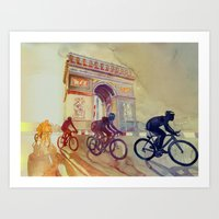 tour de france Art Prints featuring Tour de France by takmaj