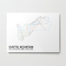 Hunter Mountain, NY - Minimalist Trail Art Metal Print
