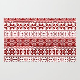 Red Winter Fair Isle Pattern Rug