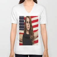 american V-neck T-shirts featuring American by Michelle Rosario