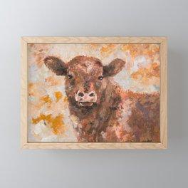Brown calf painting Framed Mini Art Print