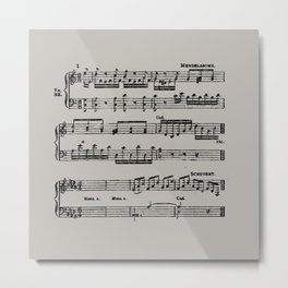 Black distressed stamped music notes light gray grey background Metal Print