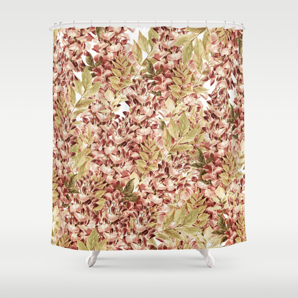 Vintage Boho Mauve Pink Dusty Green Floral Shower Curtain by Pink_water CTN9028077