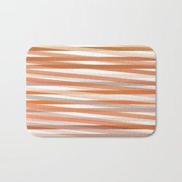 Fall Orange brown Neutral stripes Minimalist Bath Mat