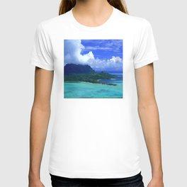 Tropical Clouds Over Island Paradise in Aqua Lagoon T-shirt