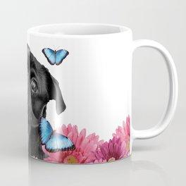 Back pug with pink Gerber and blue morph butterfies Coffee Mug
