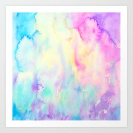 Watercolor Abstract Landscape Blue and Purple Art Print