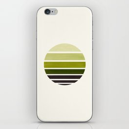 Olive Green Mid Century Modern Minimalist Circle Round Photo Staggered Sunset Geometric Stripe Desig iPhone Skin