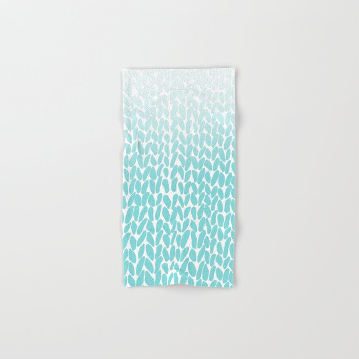 Hand Knitted Ombre Teal Hand & Bath Towel
