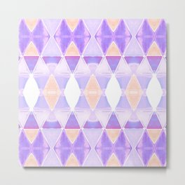 Art Deco Triangles Light Purple Metal Print